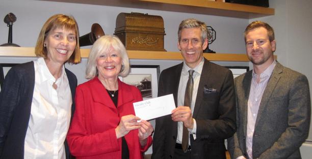 Jane & Susan present a cheque to Innis College Principal Charlie Keil & Ennis Blentic