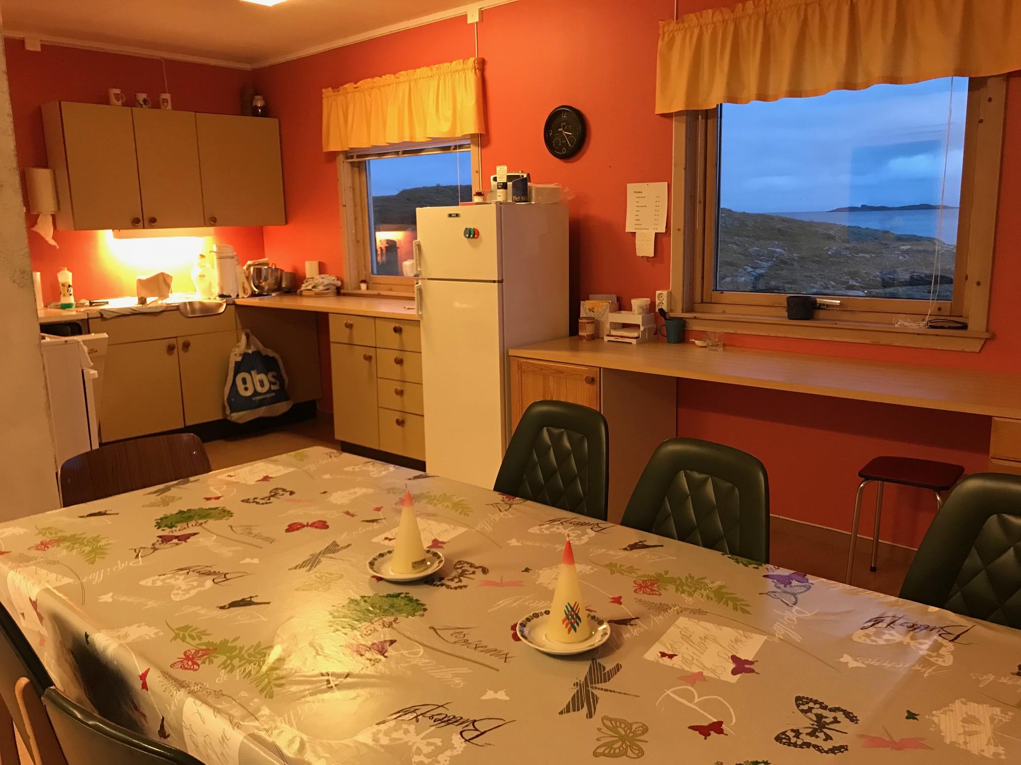 Kjøkkenet er på 6 kvm. Her er det komfyr, kjøleskap og oppvaskmaskin.