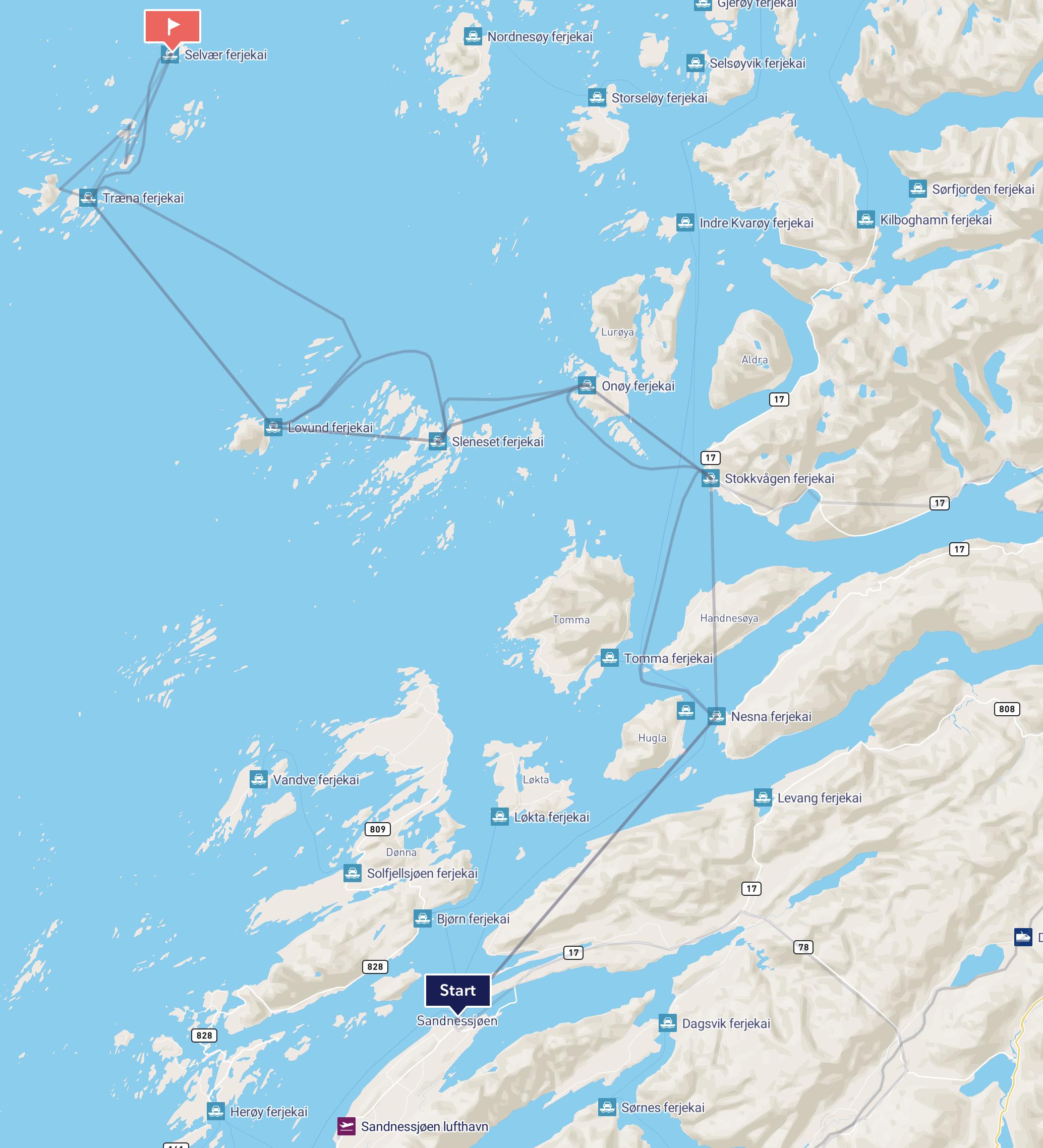 Mer om rutenettet finner du under  BÅT .    Stokke lufthavn ser du like sør for Sandnessjøen.