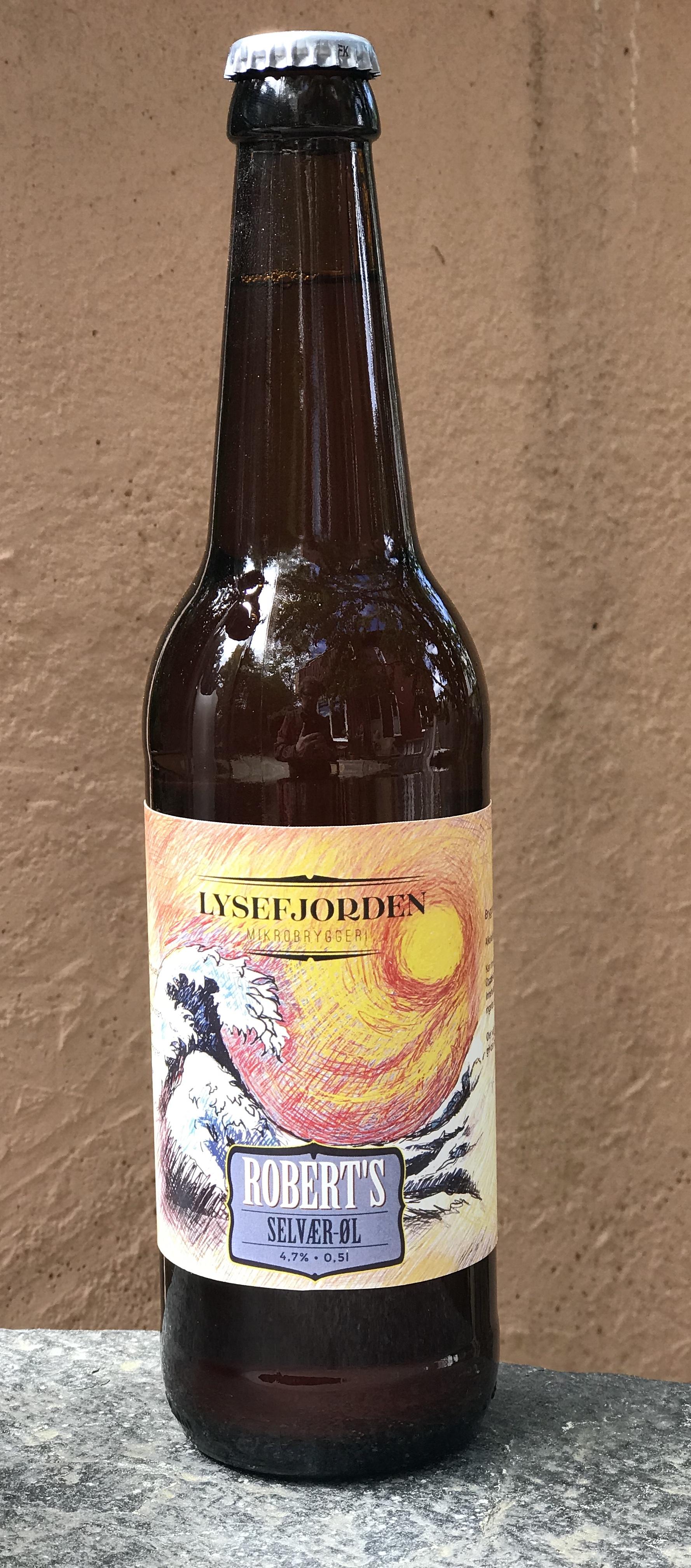 Ferdig flasket Selvær-øl; en ypperlig ale til sjømat. Bare prøv.