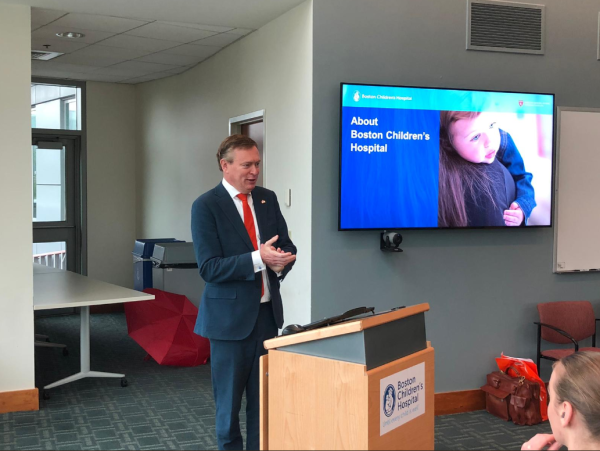 Minister Bruins and Suzan Slijpen's Digital Care & eHealth group visited the Boston Childrens Hospital. Sandra L. Fenwick, President and CEO gave an inspiring keynote about the Hospital's mission.