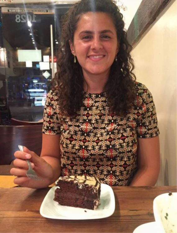 Delicious chocolate cake in a vegan cafe in L.A.