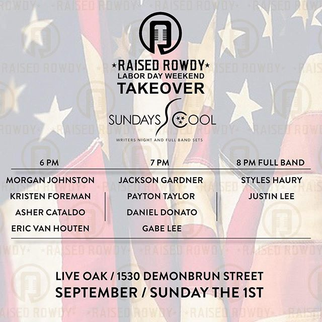 Tonight! Come catch some great music at this months @sundayscoolnashville, @raisedrowdy style! 🤘🏻 #sundayrowdyfunday