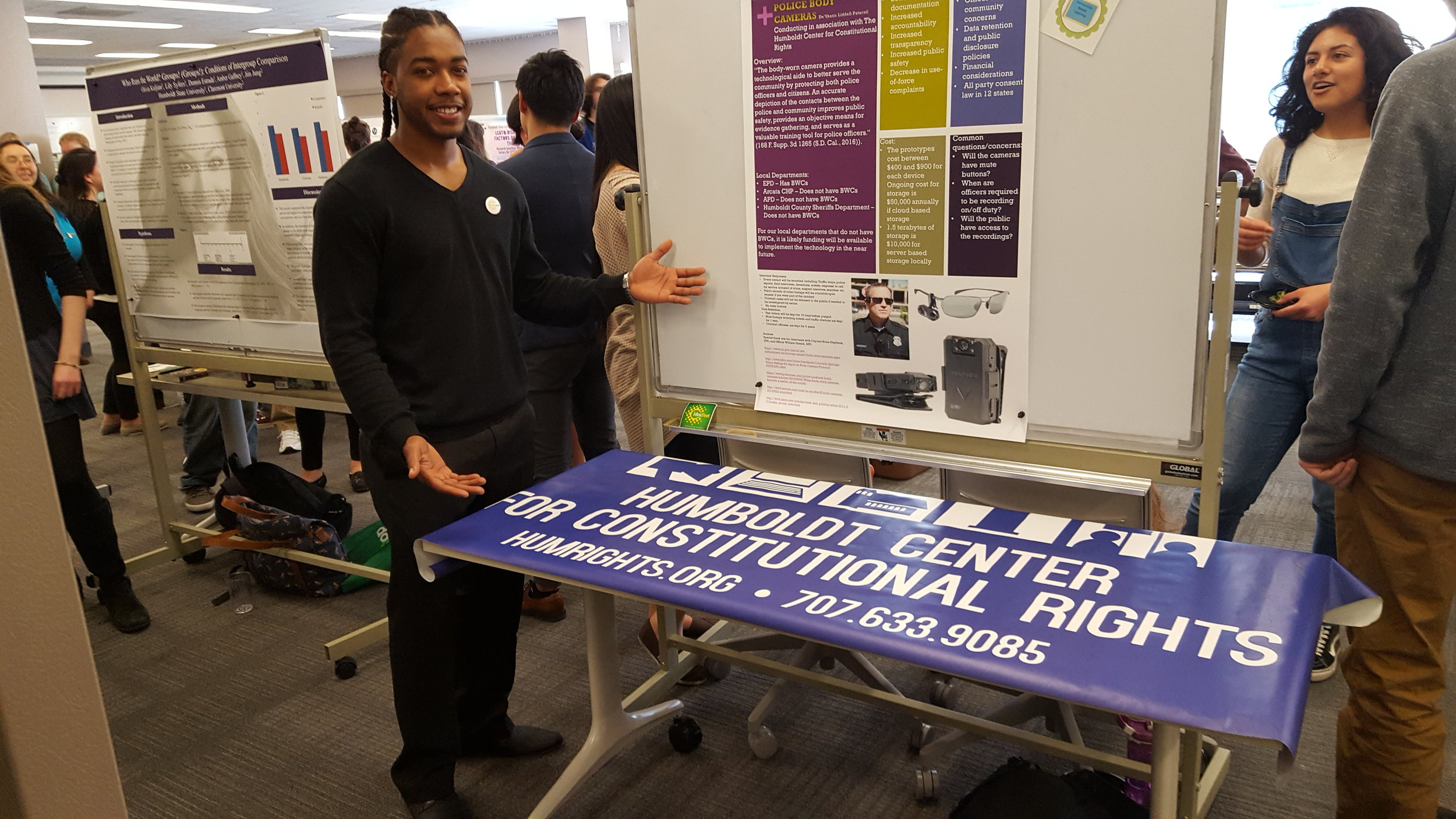 DeShaun Liddell-Patacsil with the presenting at the HSU Ideafest the research he did for HumRights on police body cams.