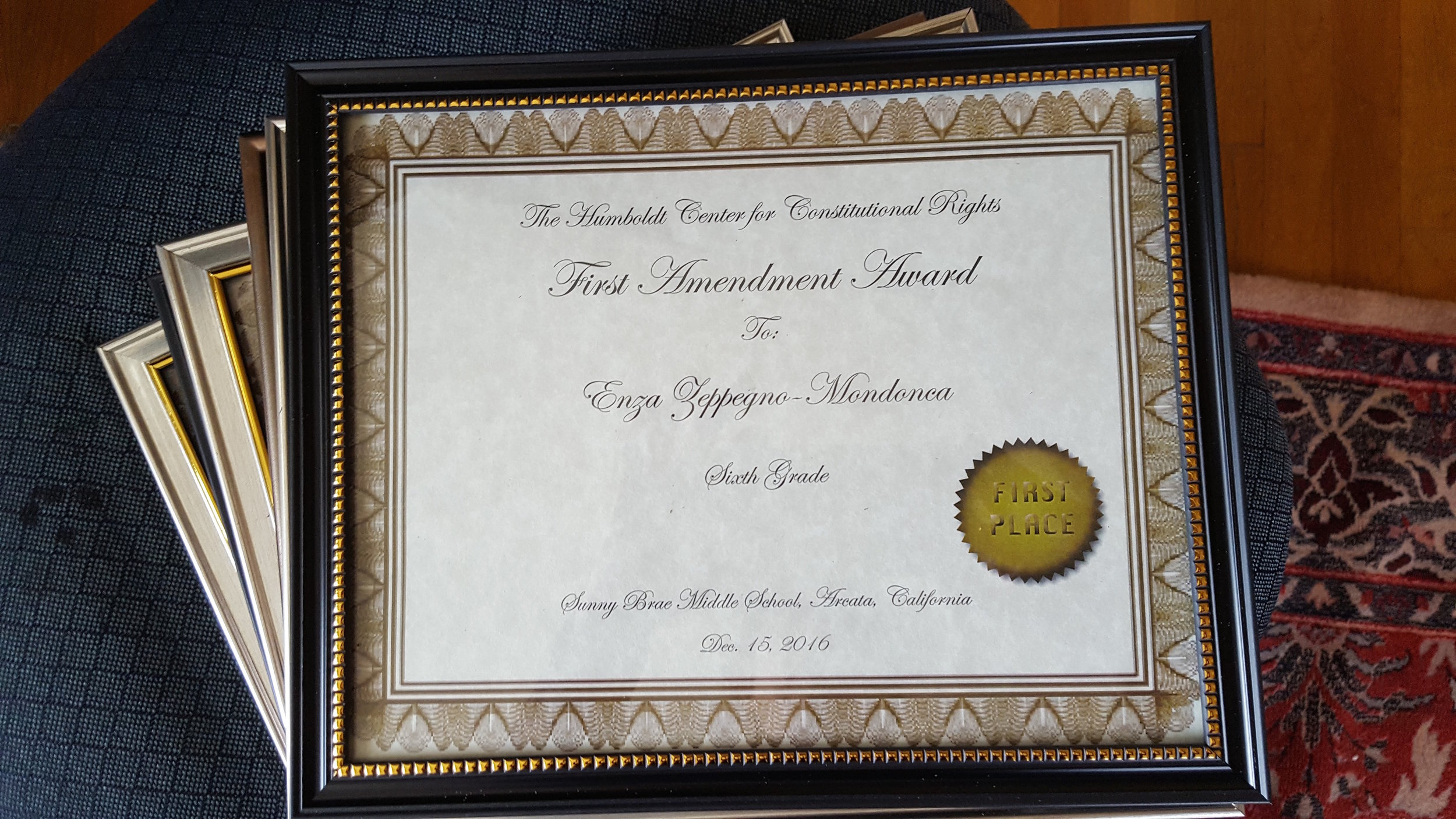 An certificate awarded to a student at Sunny Brae Middle School for wining the HumRights First Amendment essay contest in 2016.