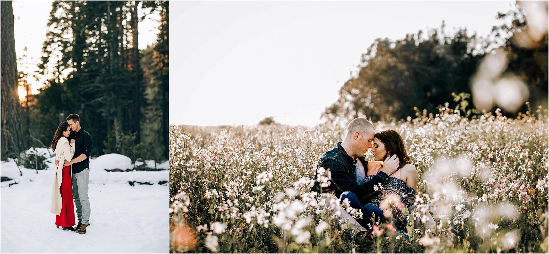 Seasons. Snow vs. spring flowers.