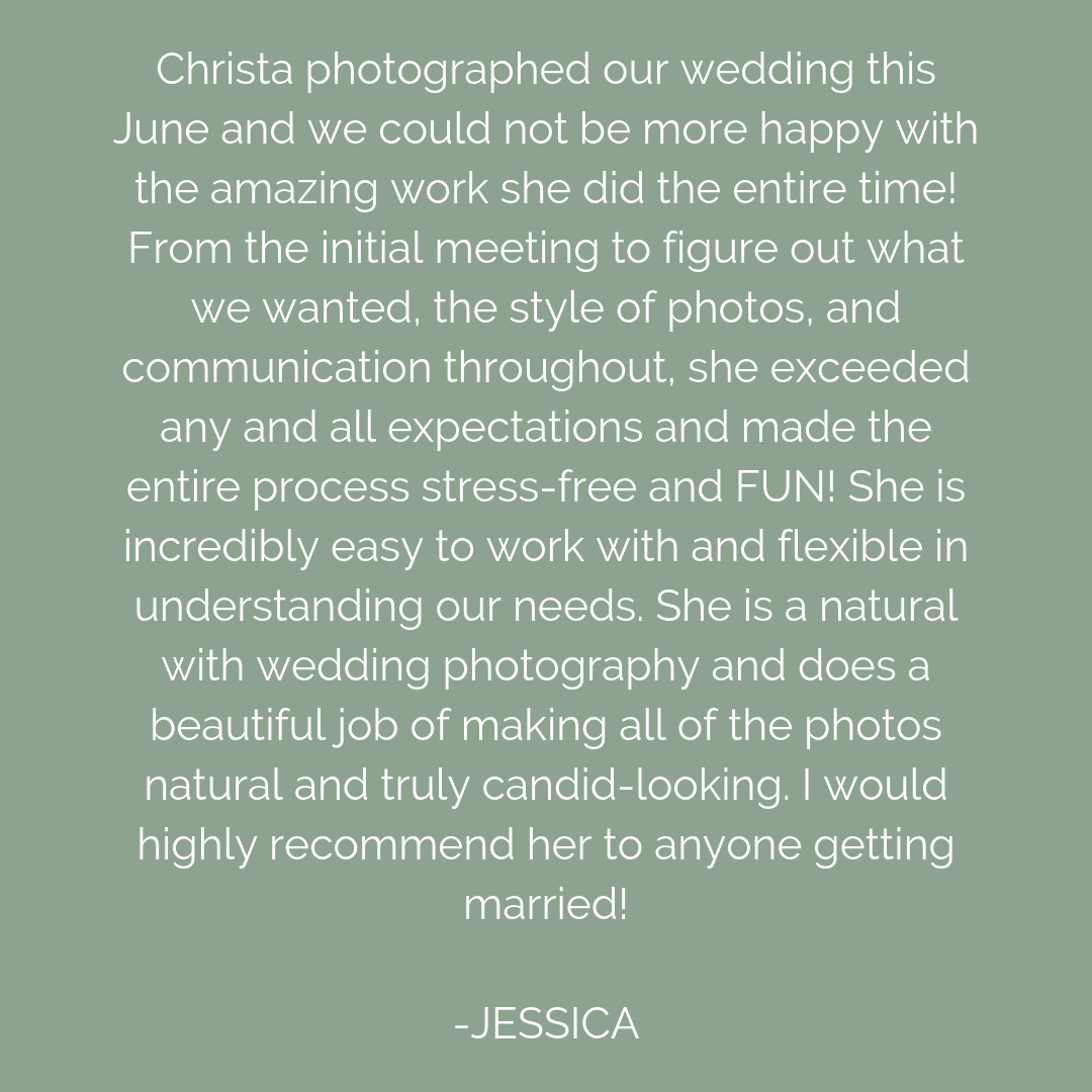 Christa is spectacular. She took wedding photos for my wife and I, and really took the time to know us and deliver a personal experience. She was great to work with, from the initial meeting, to the actual wedding da (2).png