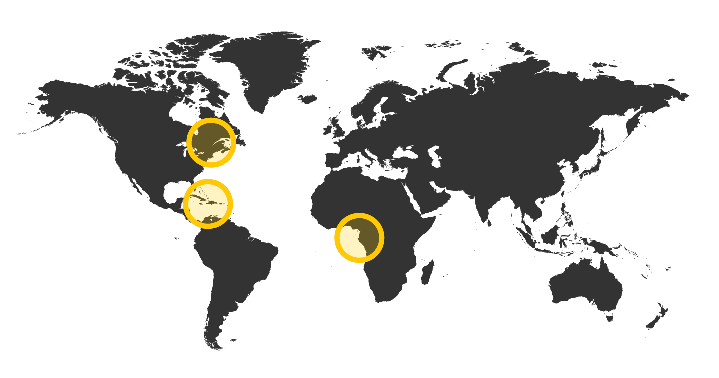 World map highlight current and future work locations.