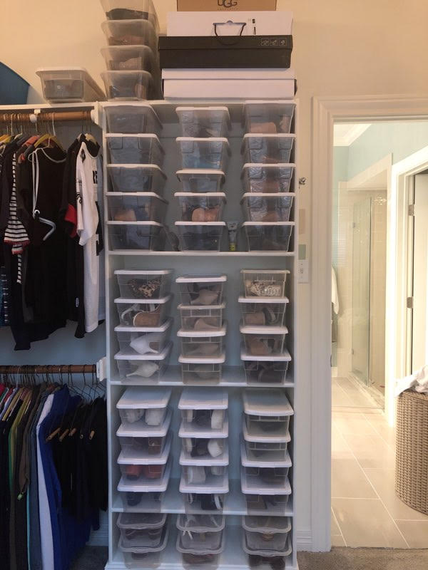 Store your shoes in clear boxes so you can easily see and decide your style for the day