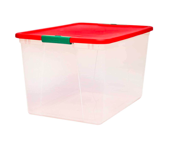 Homz Holiday Plastic Storage Container, 2 Pack, Red and Green Amazon