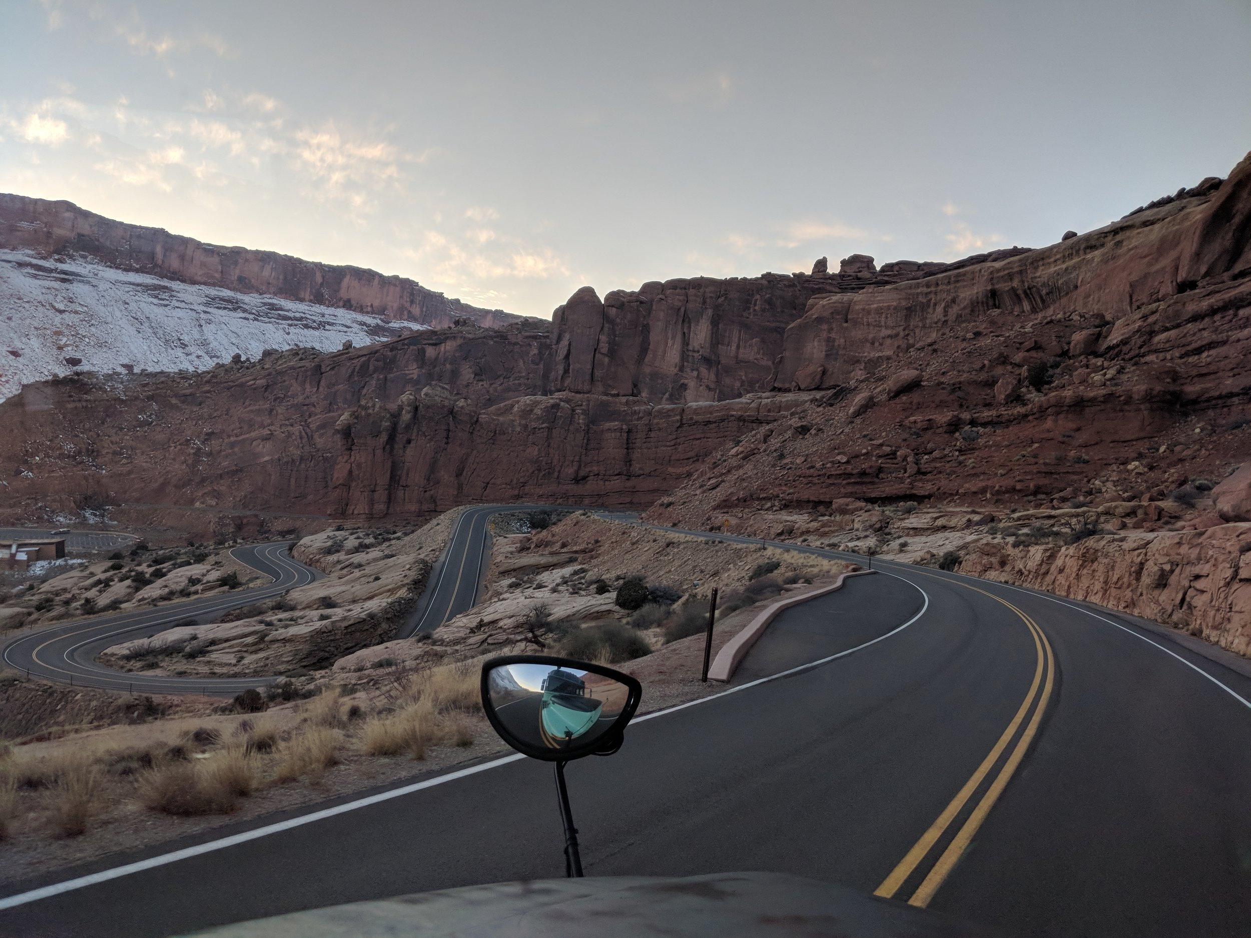View leaving Arches National Park, Utah.