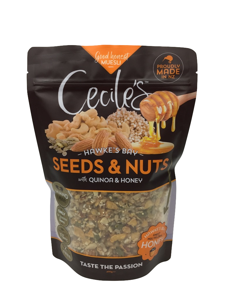Seeds & Nuts - Nutty GoodnessOur best selling muesli is simple and honest. Full of crunch and baked with a handful of quinoa and local Hawkes Bay honey, it's a great starter to kick off an exploration of our full range.Gluten free, contains sesame