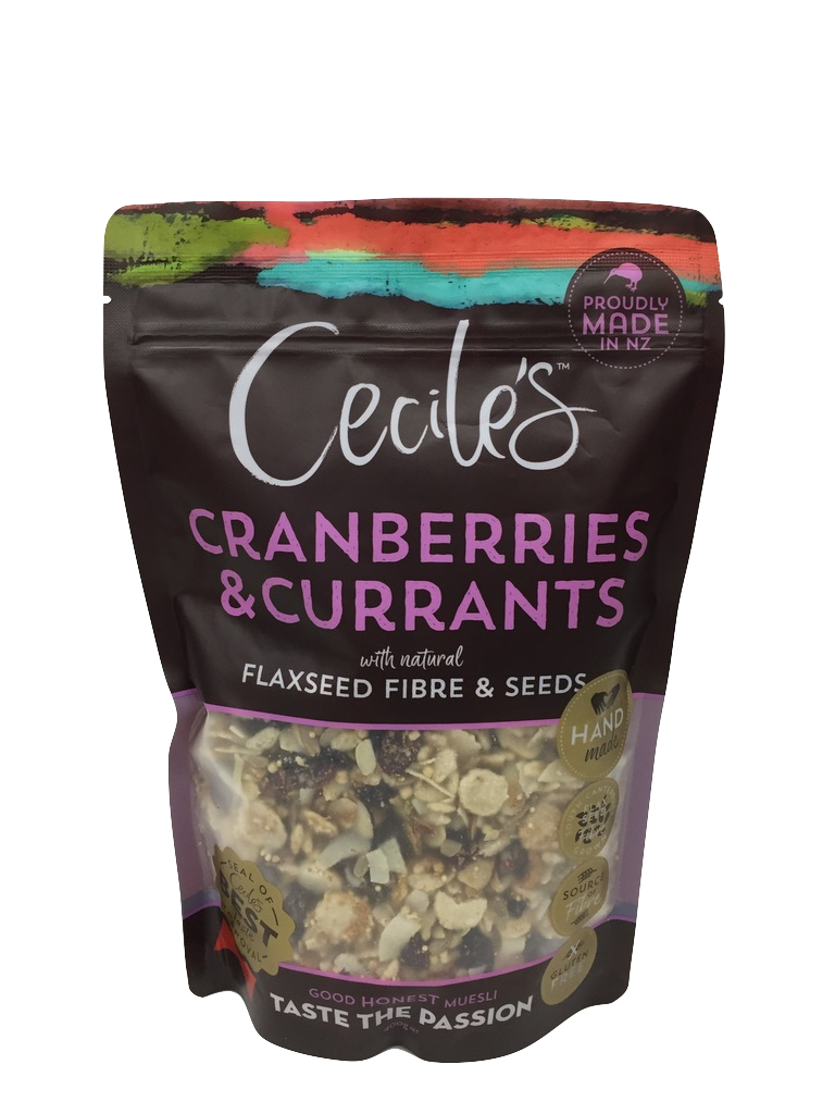 Cranberries & Currants - Juicy DelightSucculent cranberries and currants cut through the crunch of seeds, making this our juiciest muesli yet. Topped off with a dash of flax seed fibre, Cranberries & Currants ranks high on our list of feel good flavours.Gluten free, contains sesame