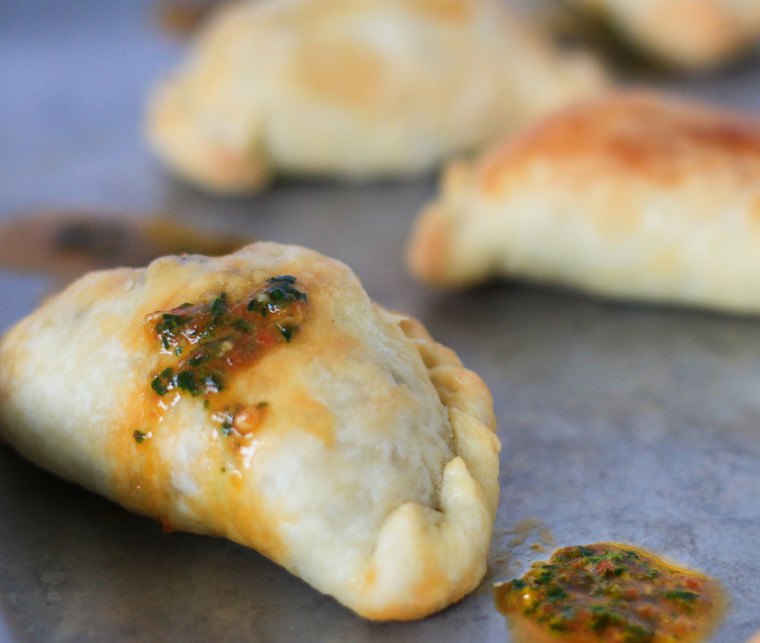 Argentinean Empanadas with Roasted Red Pepper Chimichurri