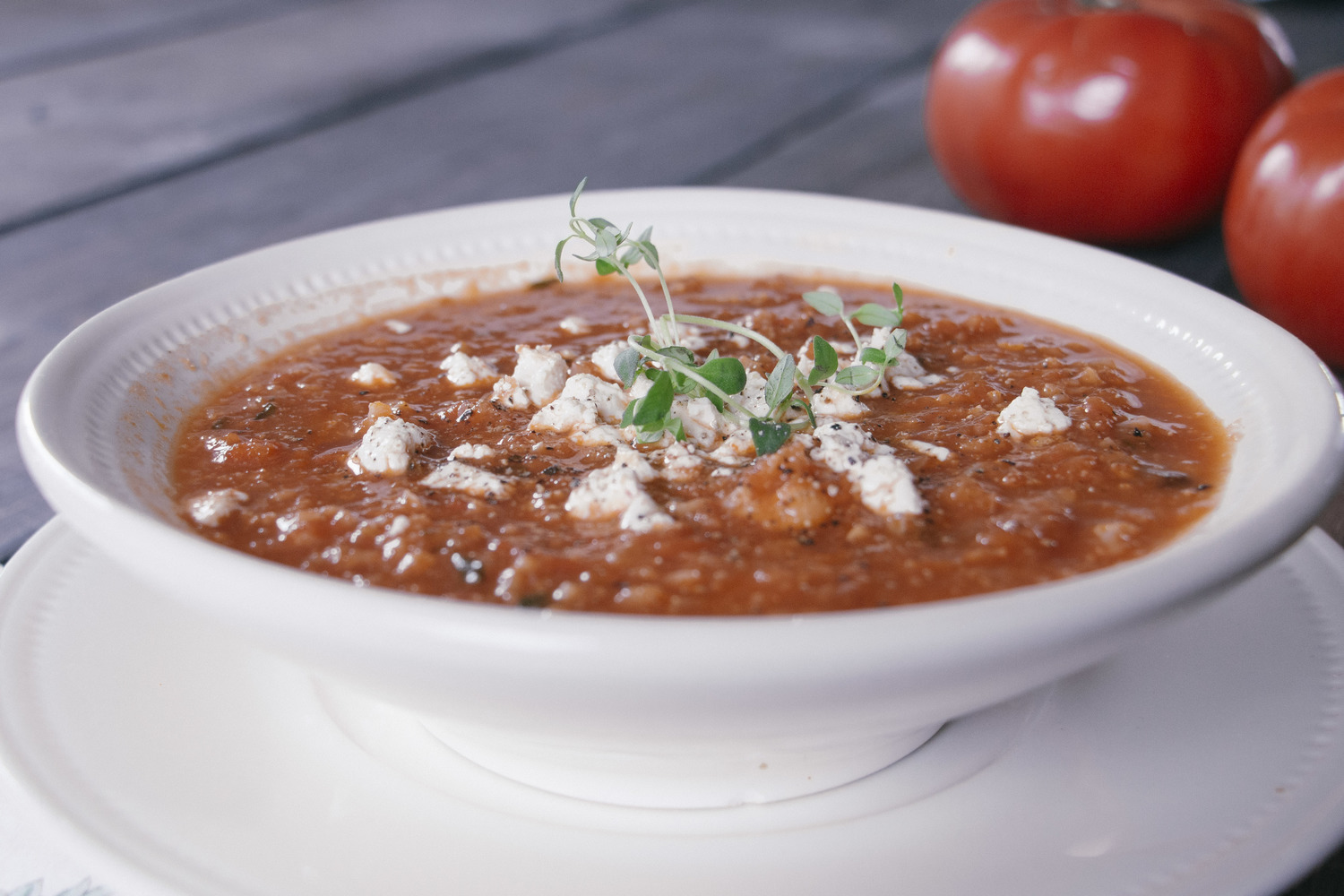 Spicy Roasted Red Pepper, Cauliflower and Tomato Soup