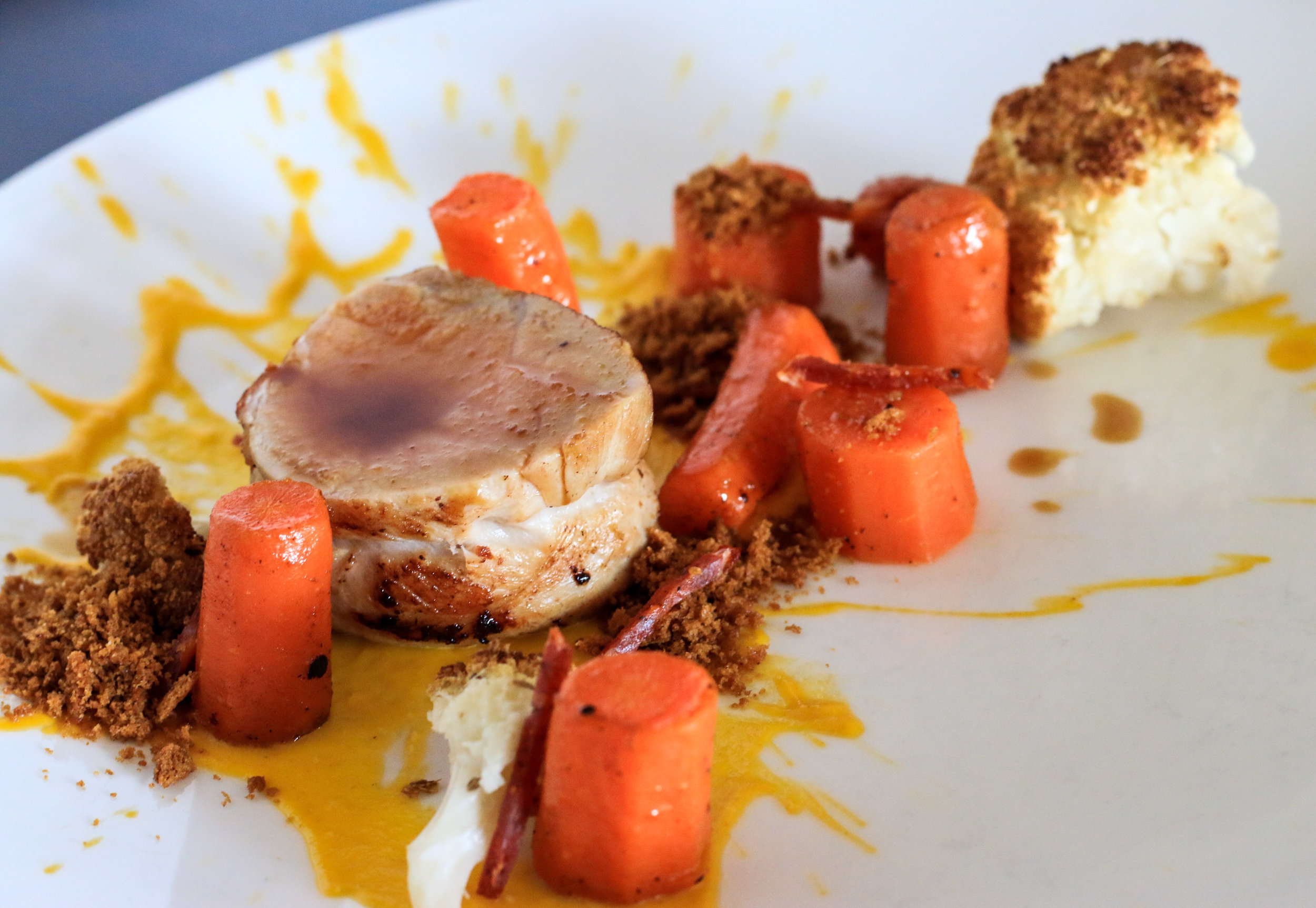 Roasted Pork Sirloin with Carrots, Gingerbread and Guanciale