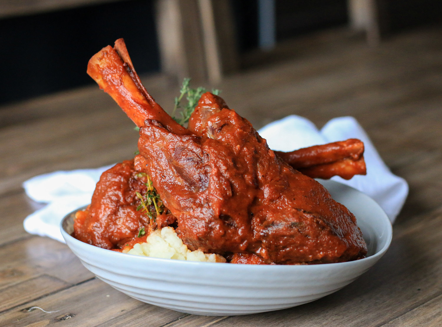 Braised Lamb Shanks with Cauliflower Mashed Potatoes