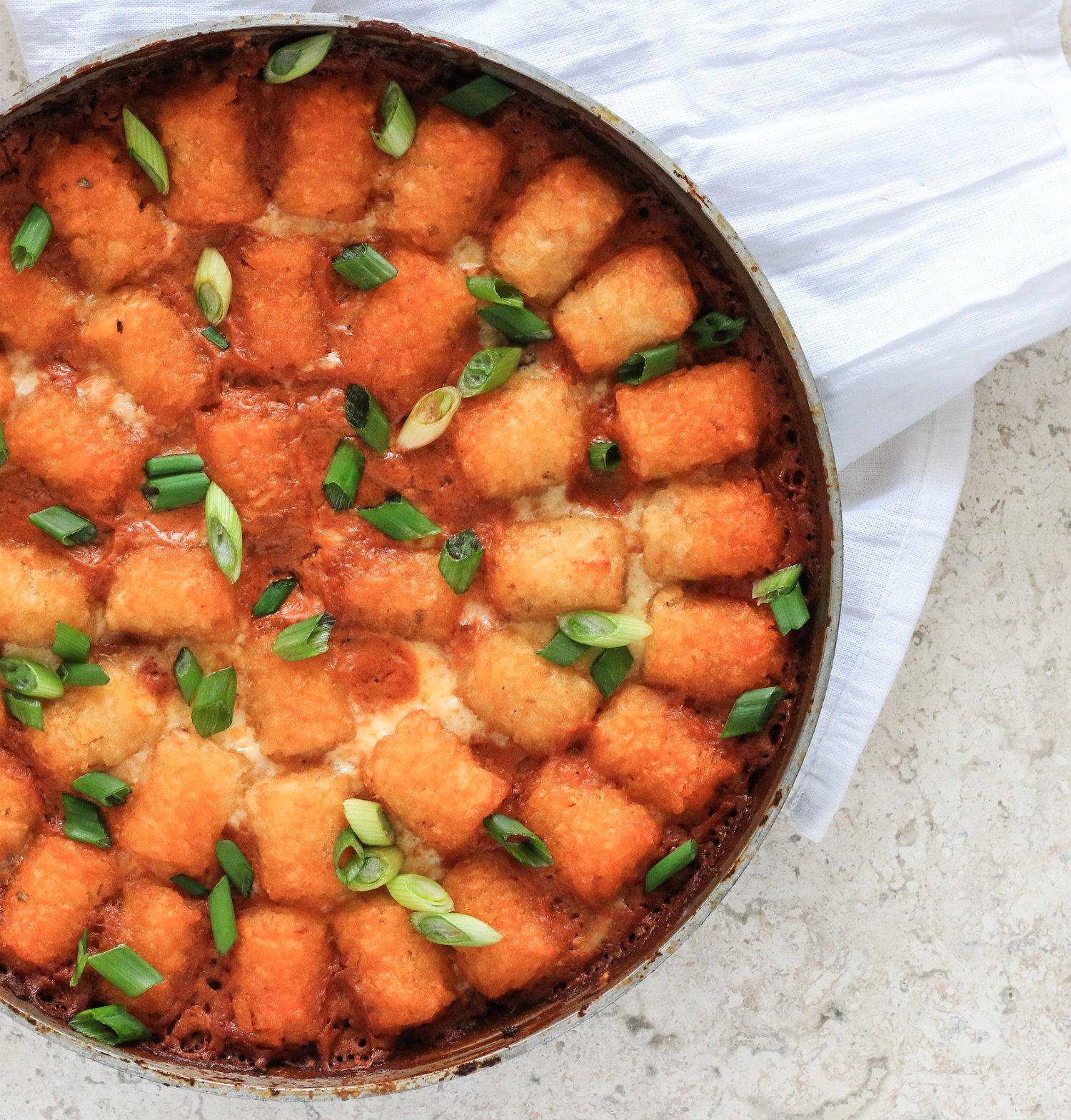 Chili Cheese Tater Tot Casserole