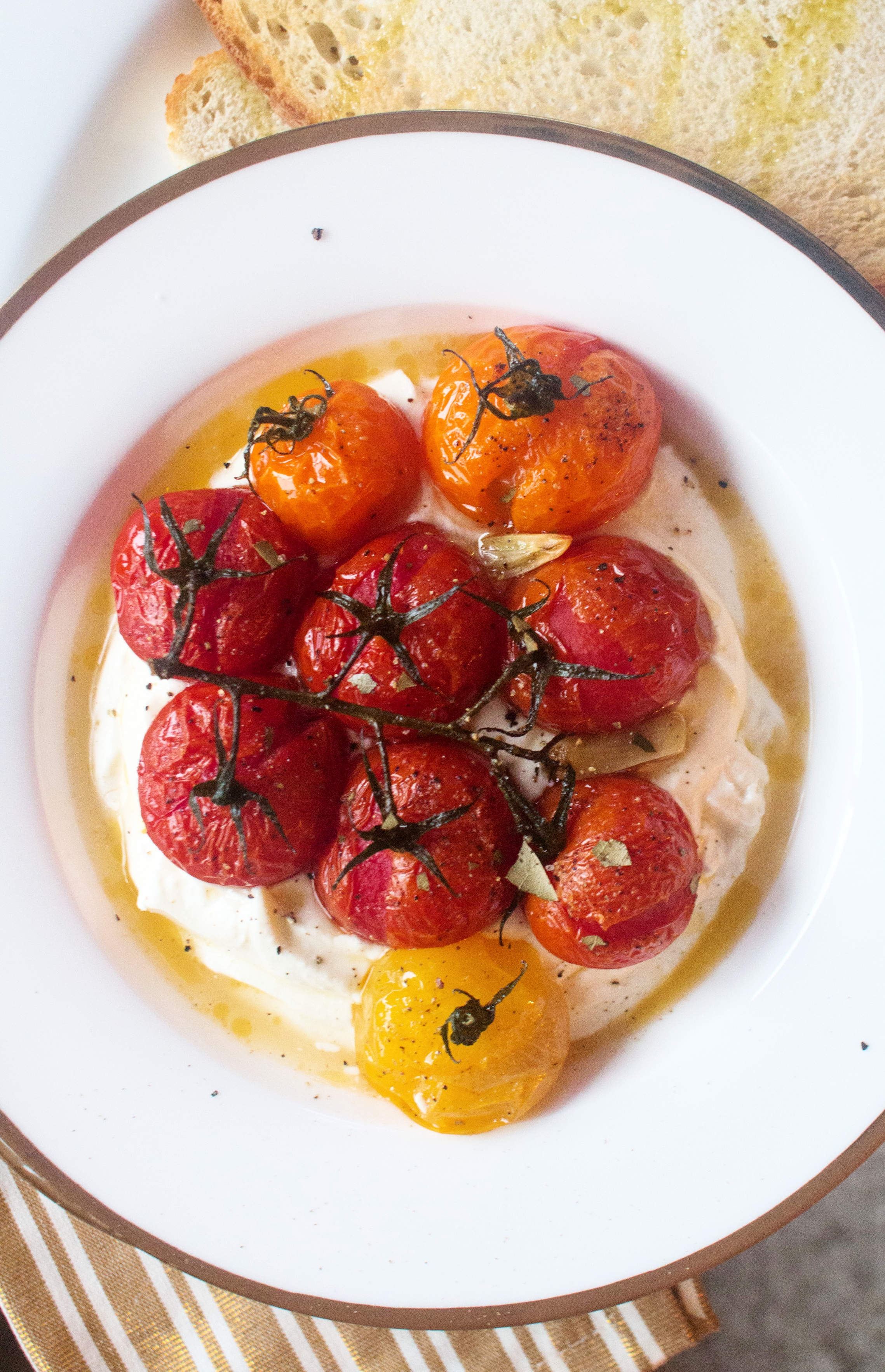 Confit Tomatoes with Whipped Feta on Sourdough