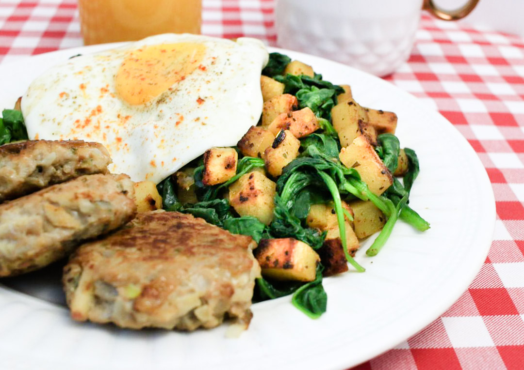 Hash Browns with Sautéed Spinach
