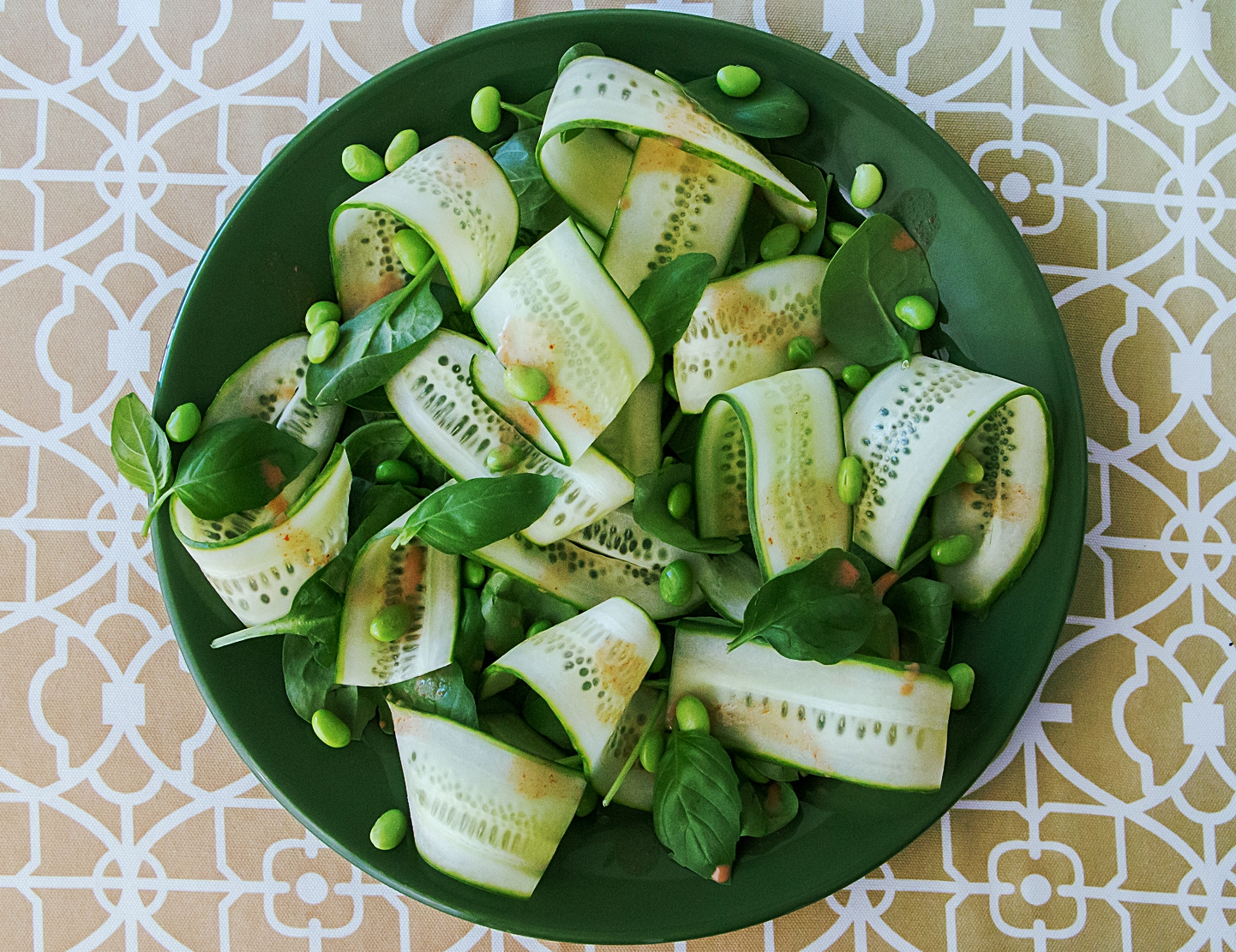 Cucumber Edamame Salad with Coconut Curry Dressing