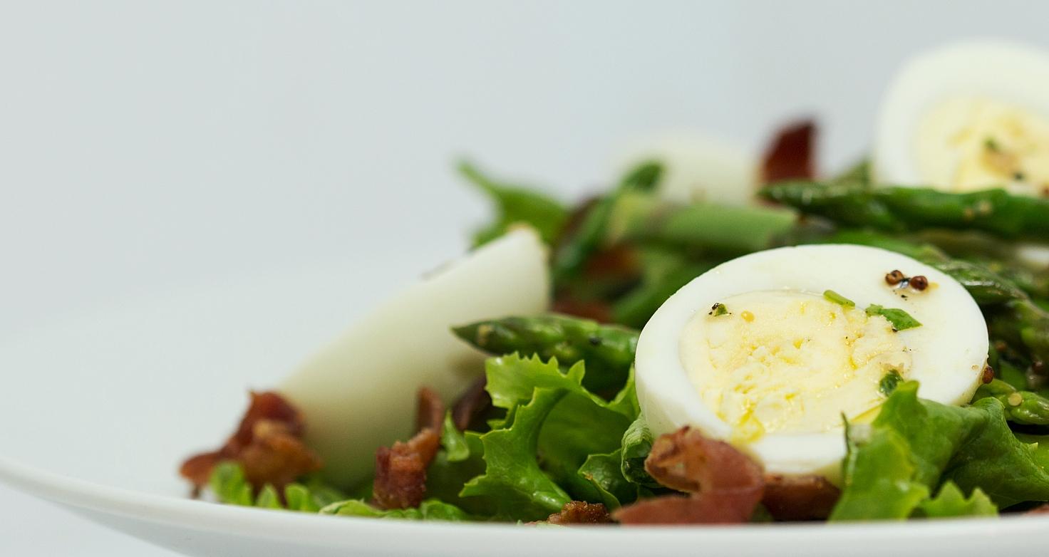 Asparagus Salad with Hard Boiled Eggs & Grainy Mustard Vinaigrette