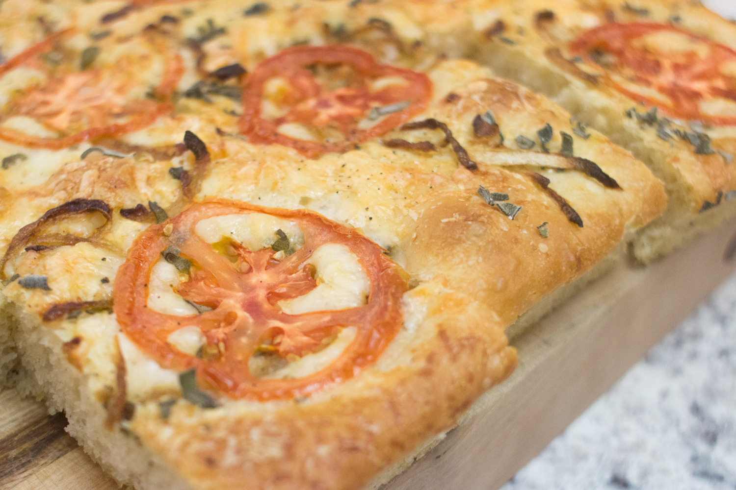 Sage, Tomato and Caramelized Onion Focaccia Bread with Olive Oil Dipping Sauce