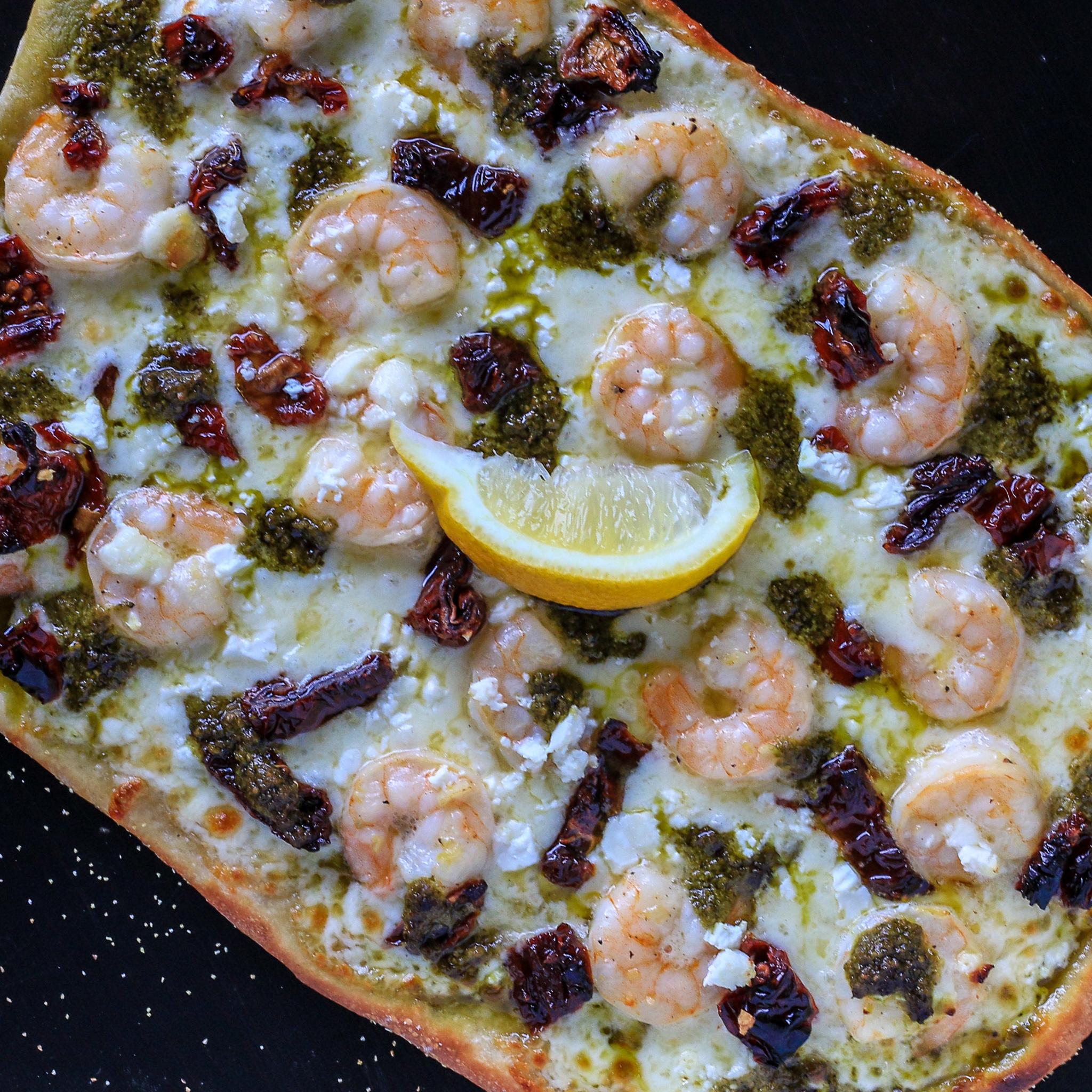 Shrimp Scampi Pesto Pizza