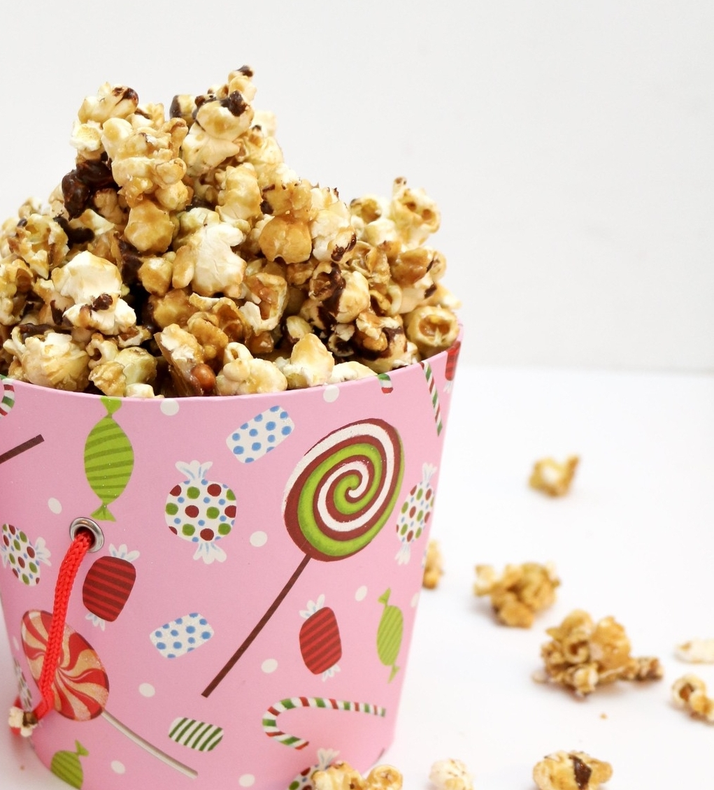 Salted Caramel Popcorn with Chocolate Drizzle