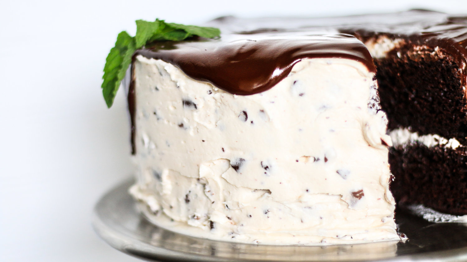 Layered Chocolate Cake with Mint Buttercream Icing
