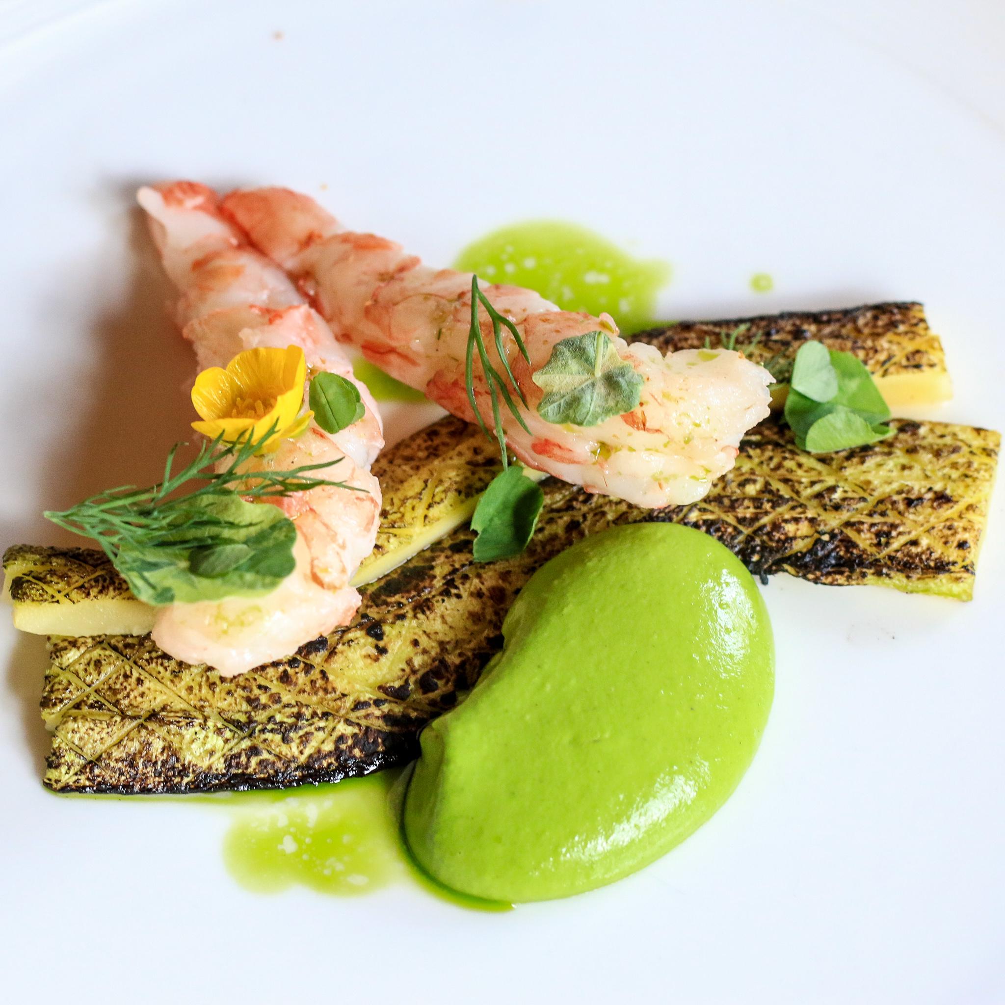 Charred summer squash, squash skin green goddess, poached shrimp, nasturtium, basil