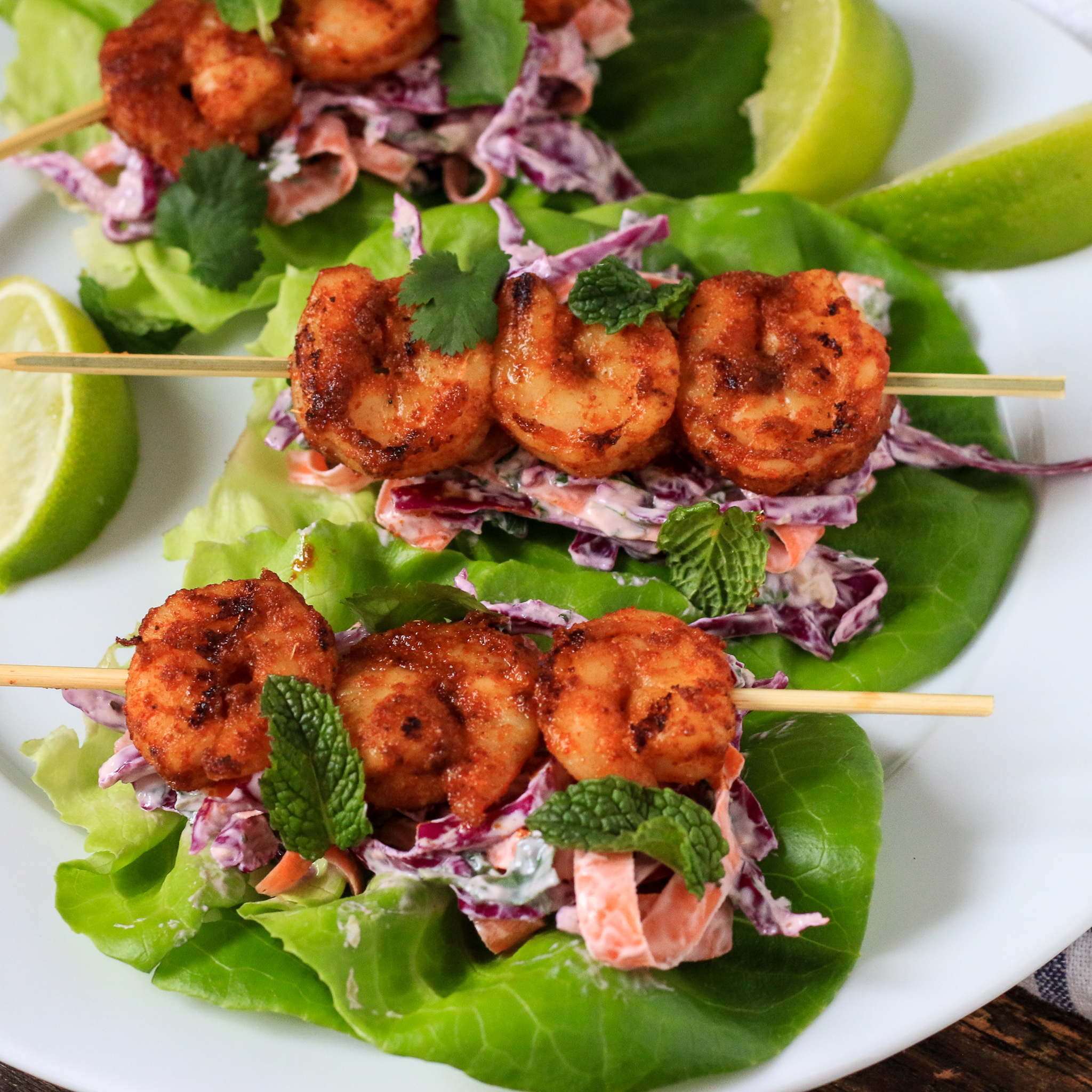 Spicy Shrimp Lettuce Wraps with Herbed Greek Yogurt Coleslaw