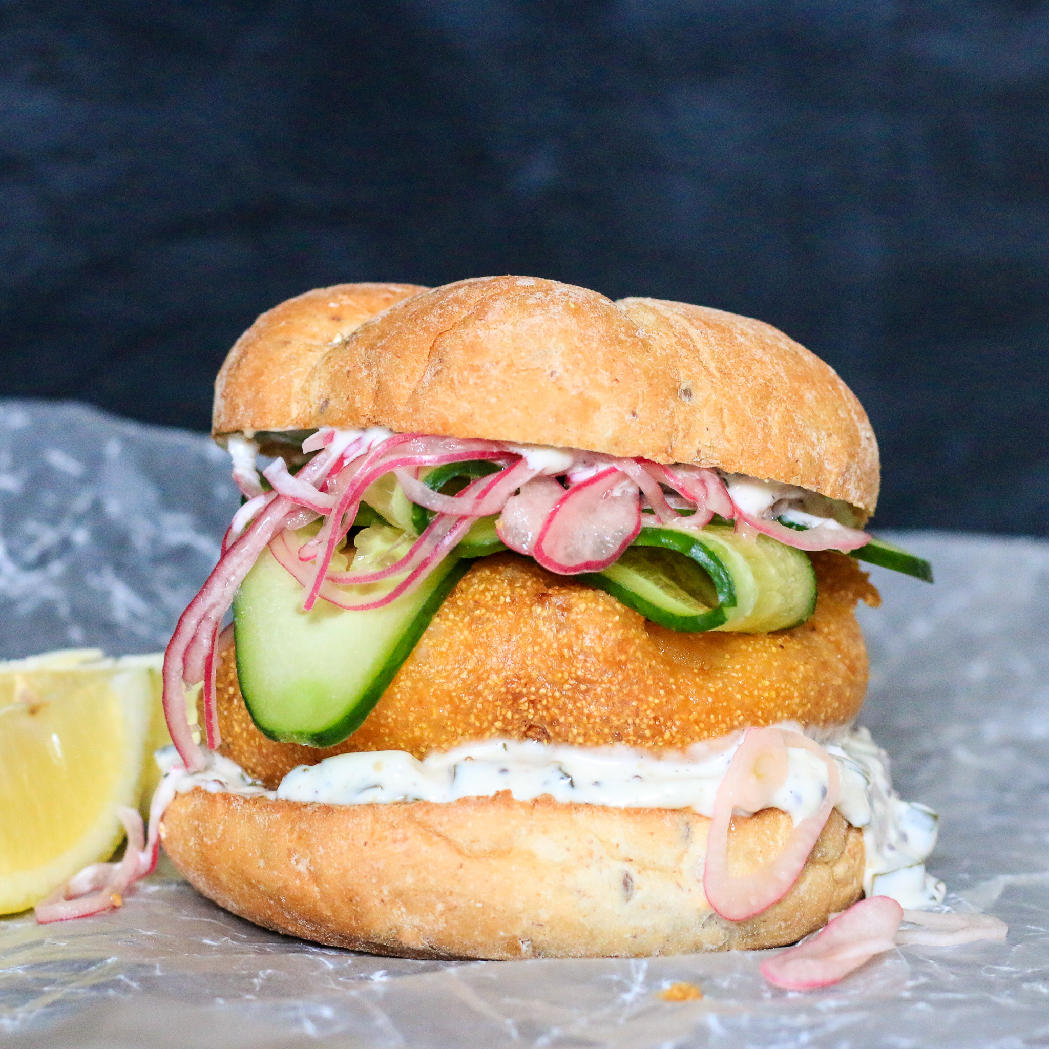 Fried Fish Sandwich with Quick Pickled Red Onions