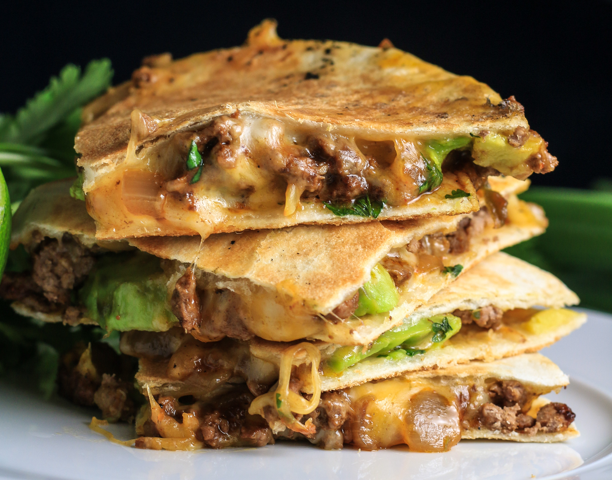 Cheesy, Beefy, Avocado Quesadillas