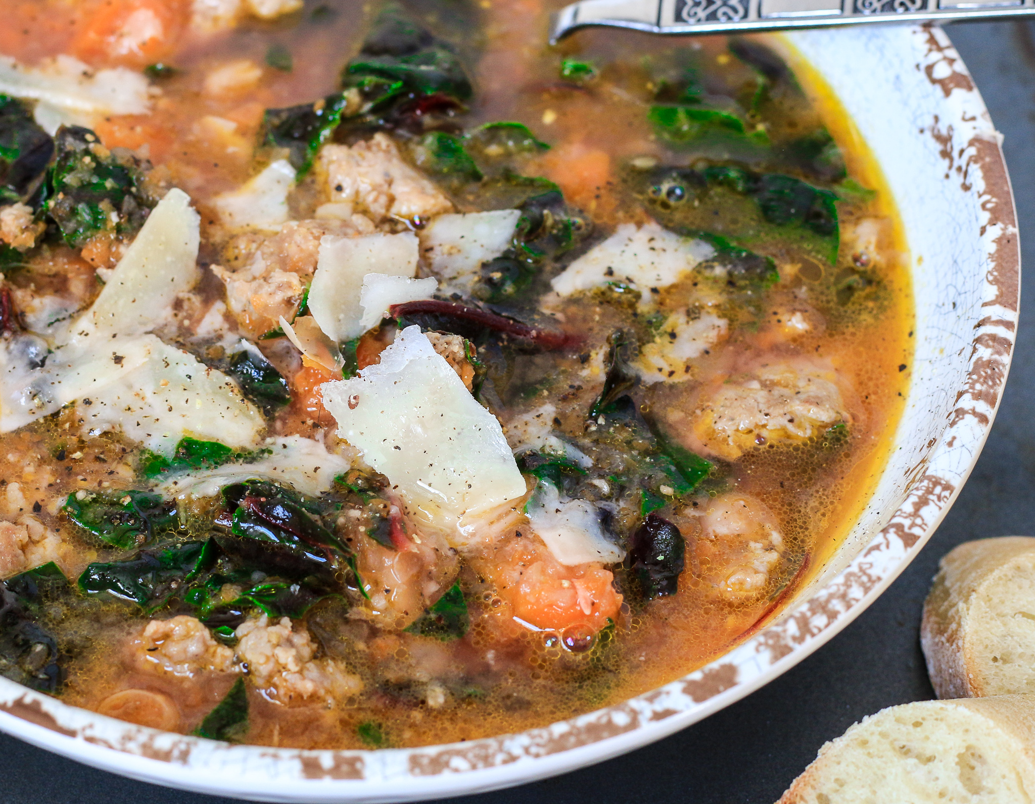 Sausage, White Bean and Swiss Chard Soup