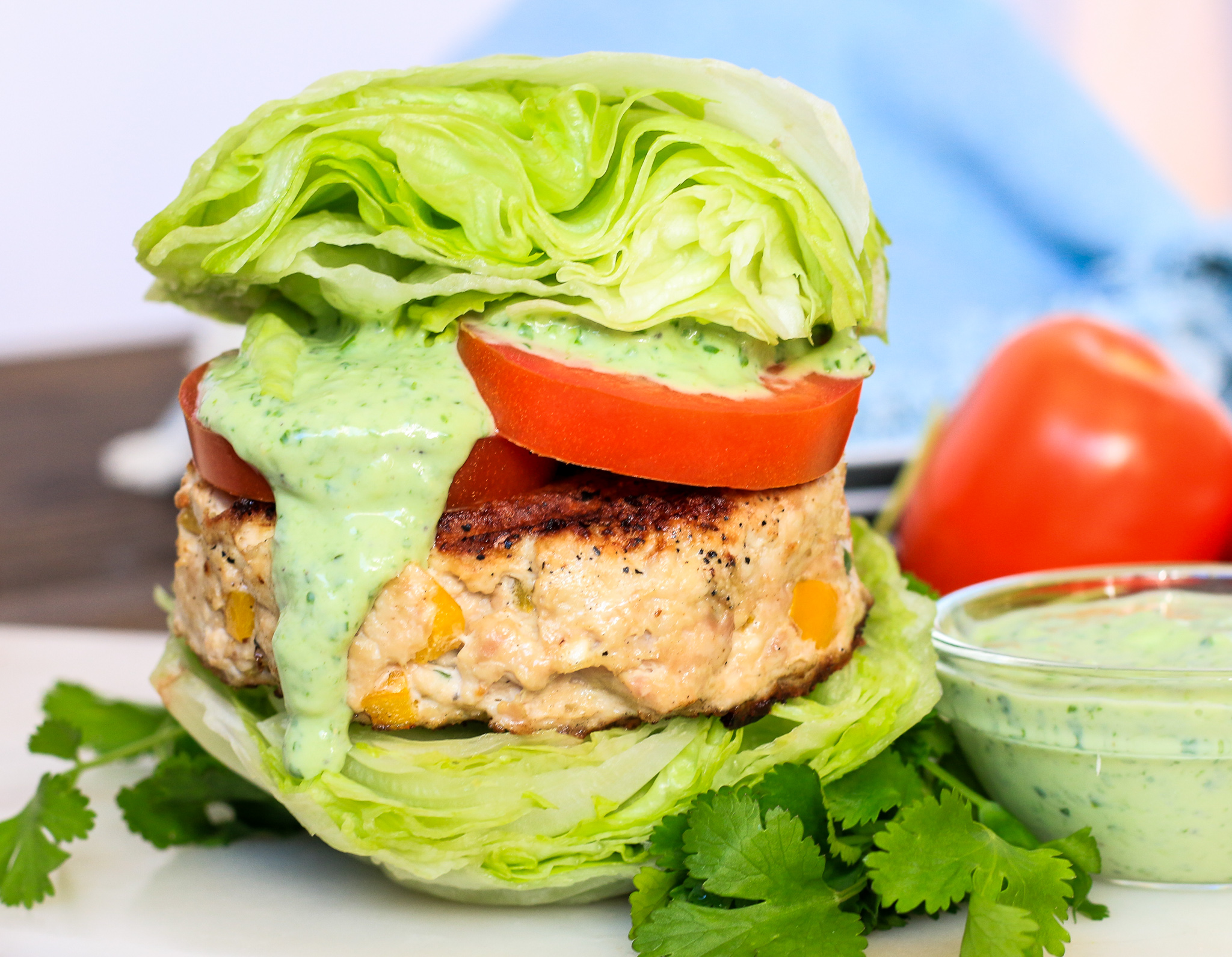 Healthy Greek Turkey Burgers with Green Goddess Dressing