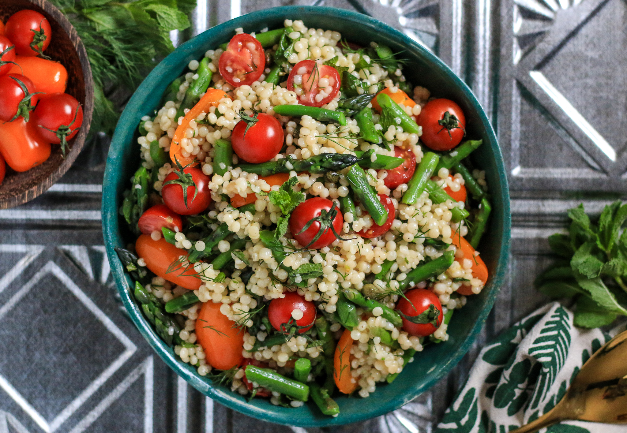 Cold Israeli (or Pearl) Couscous Salad with Caper Dressing