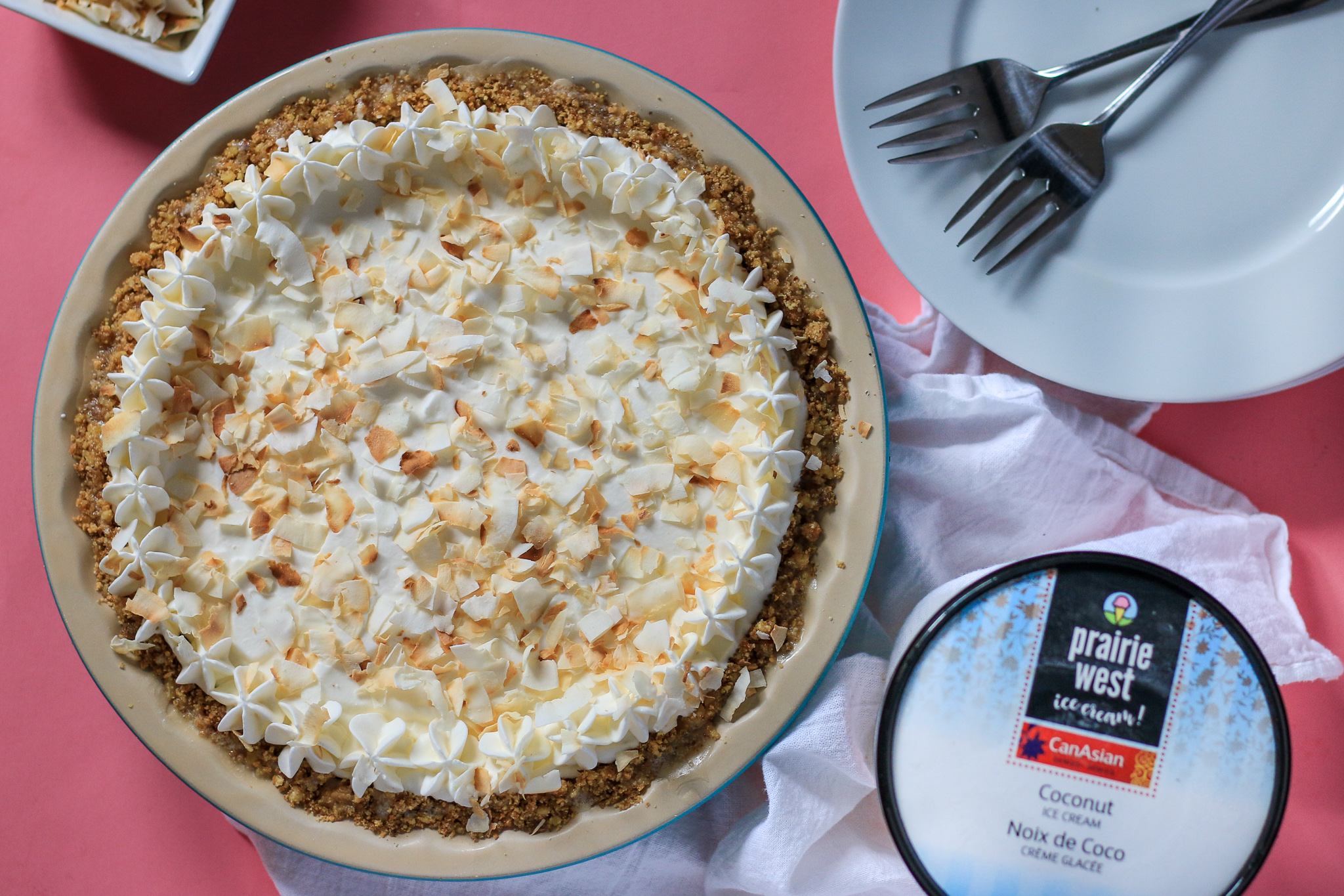 Coconut Walnut Ice Cream Pie