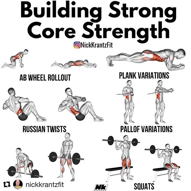 #Repost @nickkrantzfit with @get_repost ・・・ 🔨Building Rock Solid Core Strength🔨 . 🔥Listed above are a short list of some of my favorite and highly effective ab exercises! They are not ranked in any order, just a few of my favorites! . ❤️A lot of these exercises are very versatile and have a ton of variations! Odds are if you can plank for 4 minutes easily, you need to up the difficulty! Planking for a full minute seems like an eternity. There are always ways to make a progression or regression 👌🏻 . ☝🏻Most people don't realize how important compound movements are for their core strength. If you have a weak core, progressing in these compound lifts, will be challenging & near impossible. Core strength is vital in your life for more than just training. . Now... tell me below YOUR favorite core exercises!😬 . . . . #coreworkout #core #deadlifts #squats #sixpack #musclegain #gainmuscle #nickkrantzfit