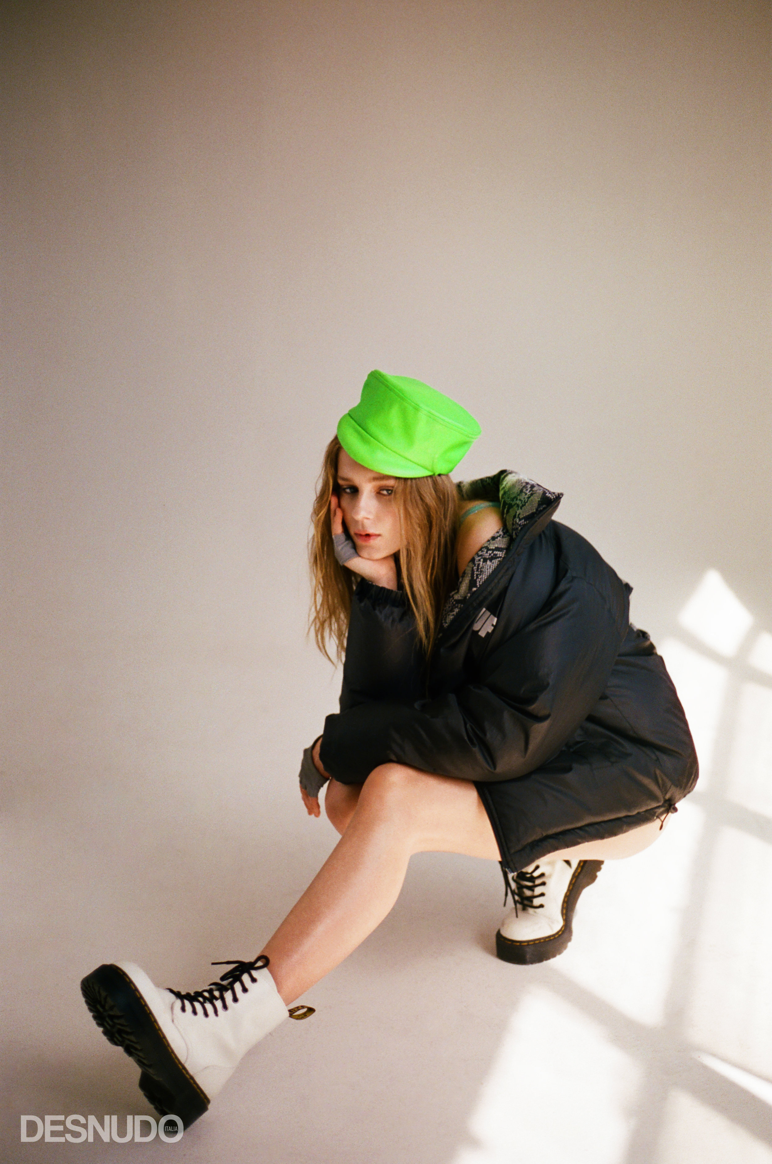 glitter bodysuit  BUNNY HOLIDAY , puffer jacket  USED FUTURE , neon hat and cropped gloves  SAINT GERMAINE , boots  DR MARTENS