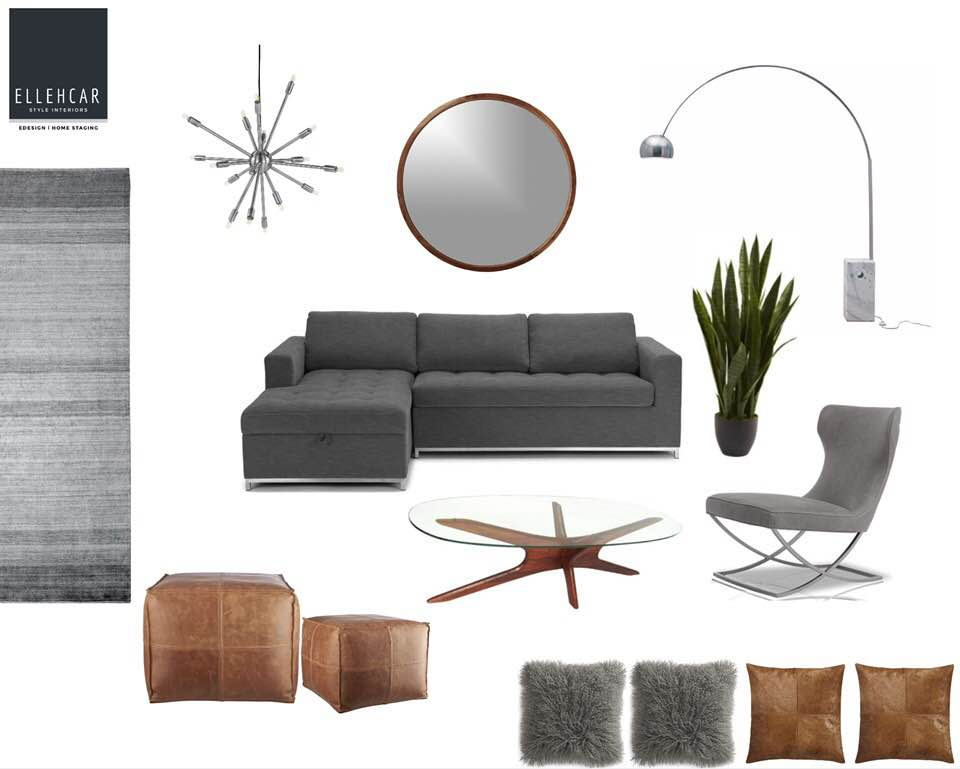 Concept Mood Board | Color Theme, Furniture Selections and Decor Pieces
