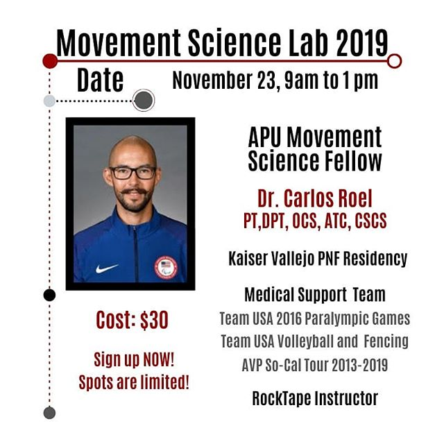 Sign up before it's too late! Don't miss out from this awesome opportunity to learn from some of the best in our profession! See the sign up sheet via the link in our IG bio! . Carlos I. Roel is a Doctor of Physical Therapy, Certified Athletic Trainer, Certified Strength and Conditioning Specialist, and a Board-Certified Clinical Specialist in Orthopedic Physical Therapy.  He has experience in providing rehabilitation and athletic training services to all levels of adapted and able-bodied athletes and non-athletes. After receiving his doctorate in Physical Therapy, Dr. Roel completed a residency in Proprioceptive Neuromuscular Facilitation (PNF) at the Kaiser Foundation Rehabilitation Center in Vallejo, California. During his training in the PNF residency, he worked with individuals suffering from neurologic and/or multitrauma conditions. In February 2020, he would have completed the Post Professional Clinical Fellowship in Movement and Performance, through Azusa Pacific University. This advanced fellowship focuses on specific movement impairments in the spine, upper and lower quarters of the body, and the interaction between the nervous and motor systems. . Dr. Roel is currently on the medical support team for and travels globally providing services for US Soccer Federation's Paralympic Team, USA Volleyball's Beach Teams, US Fencing Association, Kreiswirth Sports Medicine/International Brazilian Jiu-Jitsu Federation, and the Armenian American Sports Medicine Coalition. . Dr. Roel enjoys teaching, and has served as a clinical instructor for many physical therapy and athletic training students from multiple universities. When he isn't in clinic or working internationally, he works with multiple university settings as adjunct faculty. . Required: You must be a 2nd or 3rd year DPT student having completed your didactic orthopedic curriculum.