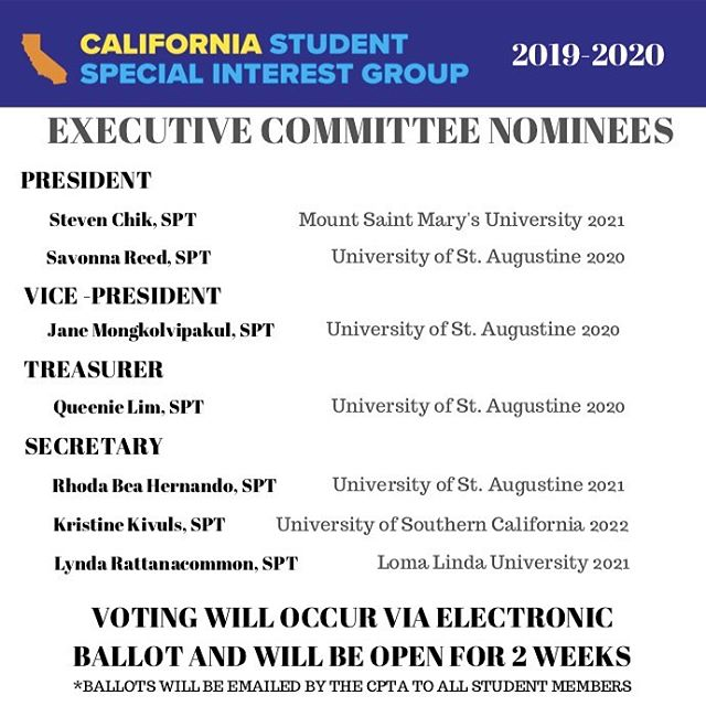 -2019-2020 EXECUTIVE BOARD NOMINEES- 👉Ballots will be emailed to all @captassociation student members TODAY. Check your emails and be sure to vote!  #cpta #cassig #studentleader #dpt #spt #pta #spta #california #gradschool #gradstudent #professional #profession #doctor #health #involvement #leaders #leader