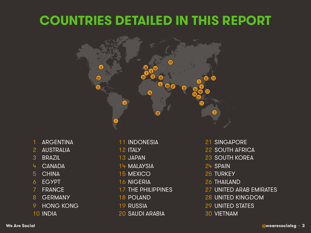 Countries Included in DataReportal's Digital 2015 Reports