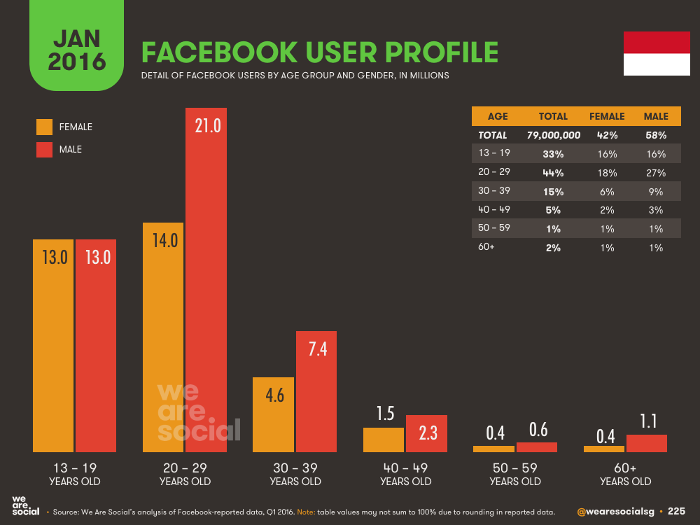 Facebook Audience Profile by Age and Gender in Indonesia January 2016 DataReportal