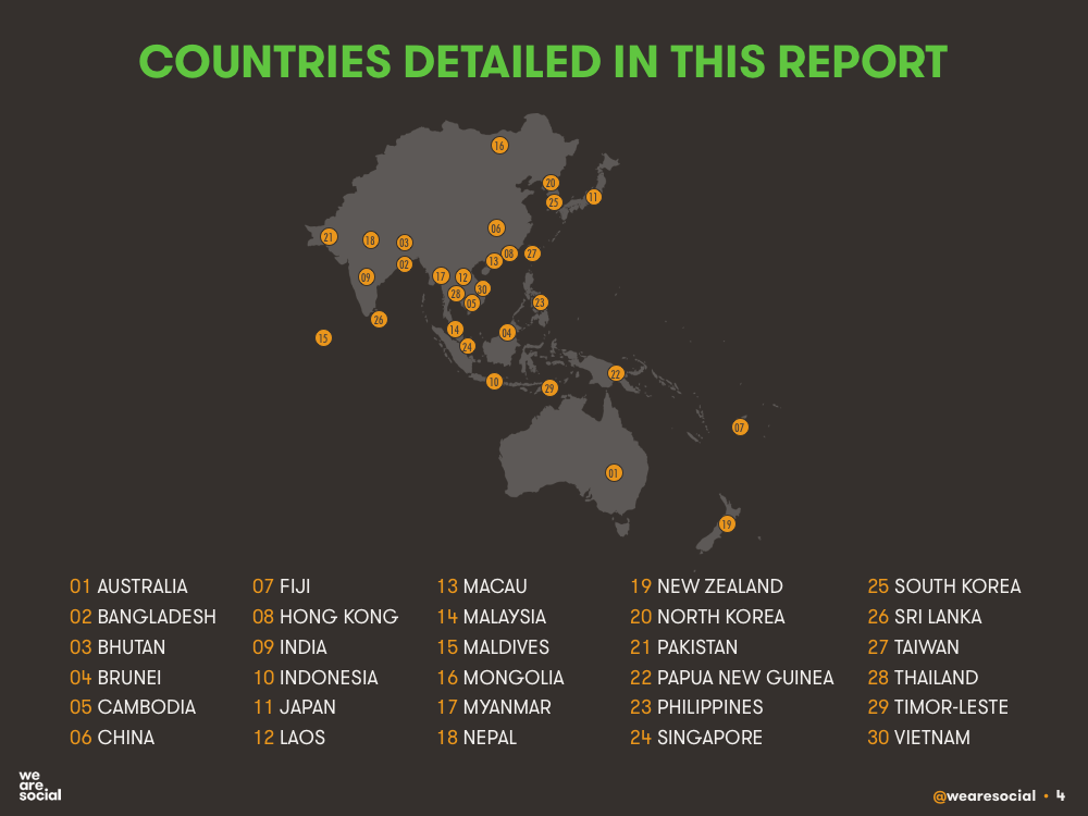 Countries Featured in DataReportal's Digital 2016 APAC Regional Overview Report