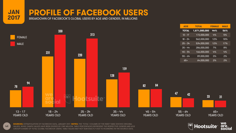 Facebook Audience Profile by Age and Gender January 2017 DataReportal