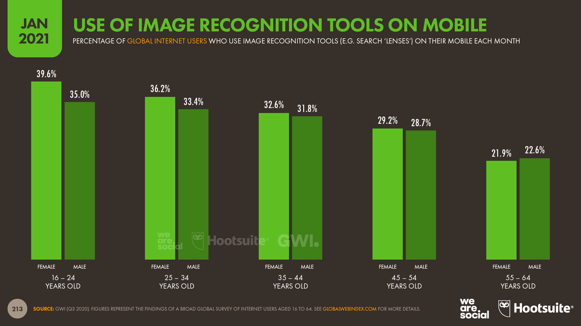Use of Image Recognition Tools on Mobile by Age and Gender January 2021 DataReportal