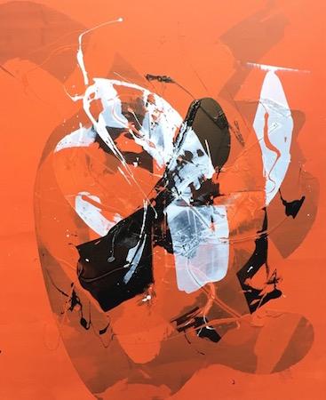 RICHARD MARTIN    Orange Spray   acrylic on canvas under perspex  167 x 137 cm