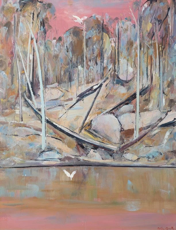 Pink Shoalhaven Landscape    Oil on canvas  127 x 98 cm  signed lower right   SOLD